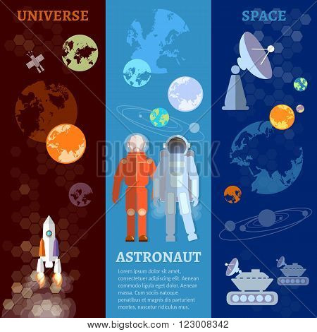 International space program banners astronauts in space vector illustration