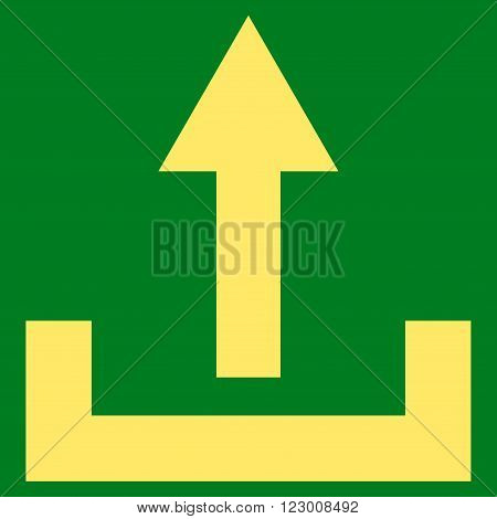 Upload vector icon. Image style is flat upload iconic symbol drawn with yellow color on a green background.