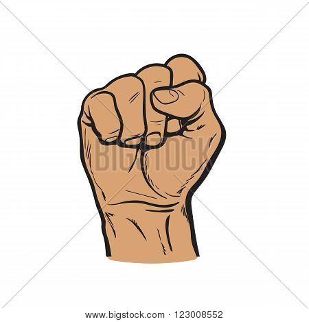 Clenched fist. Hand clenched fist. Hand showing a fist. Vector hand. Hand drawn fist. Skertch fist. Hand shows the strength, power, victory. The symbol of strength, freedom, and rights.