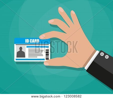 Cartoon businessman Hand holding Id card. vector illustration in flat design on green background