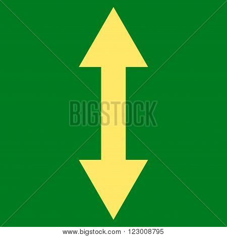 Vertical Flip vector icon. Image style is flat vertical flip iconic symbol drawn with yellow color on a green background.