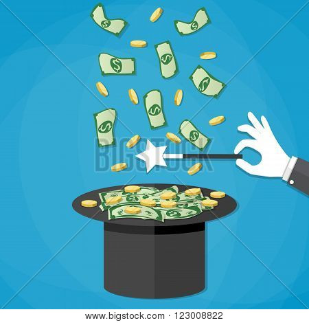 Magic trick concept. Dollar money and golden coins coming out of the magicians hat. Hand with white glove holding magic wand. Vector illustration in flat design on blue background