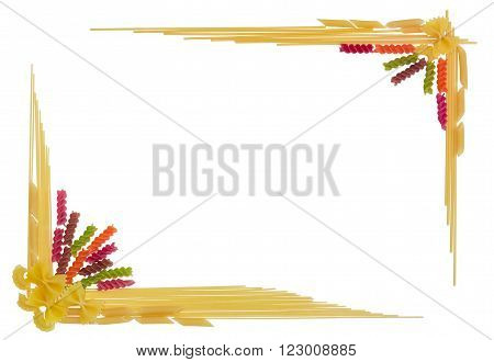 Uncooked dried long pasta two varieties colored spiral pasta and pasta other shape laid out on the perimeter as a frame with empty center part on a light background