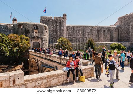 DUBROVNIK CROATIA - APRIL 11 2015: Many tourists visit the Old Town of Dubrovnik a UNESCO's World Heritage Site