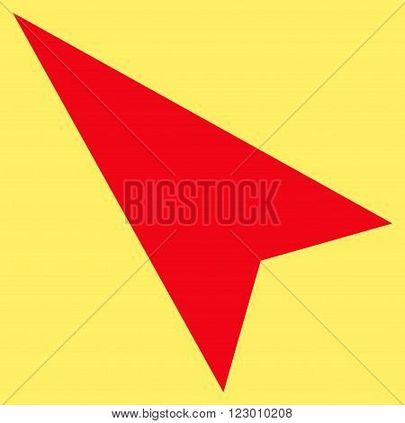 Arrowhead Left-Up vector symbol. Image style is flat arrowhead left-up iconic symbol drawn with red color on a yellow background.