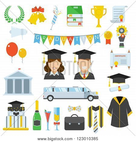 Graduation vector icon set of exam celebration cartoon elements. Man and woman graduates in hats and isolated celebrating education party vector icons. Graduation hat diploma pictogram.