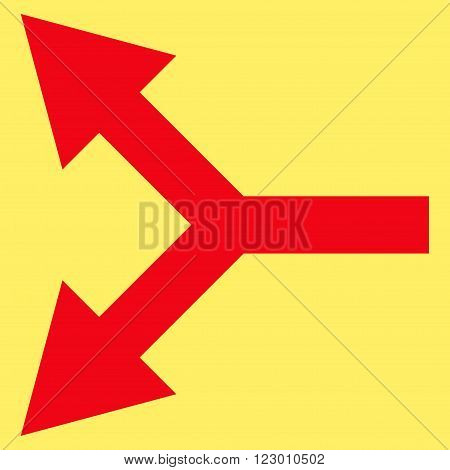 Bifurcation Arrow Left vector icon symbol. Image style is flat bifurcation arrow left iconic symbol drawn with red color on a yellow background.