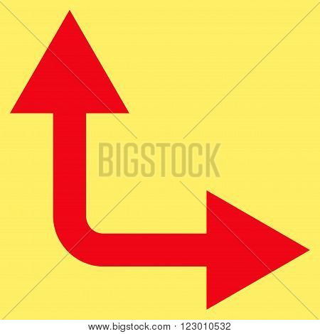 Bifurcation Arrow Right Up vector pictogram. Image style is flat bifurcation arrow right up iconic symbol drawn with red color on a yellow background.