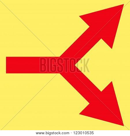 Bifurcation Arrow Right vector symbol. Image style is flat bifurcation arrow right pictogram symbol drawn with red color on a yellow background.