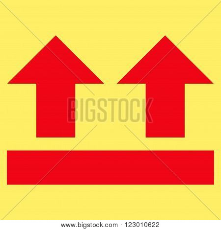 Bring Up vector icon. Image style is flat bring up iconic symbol drawn with red color on a yellow background.