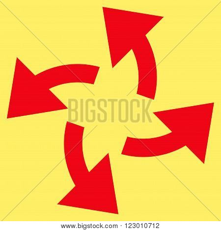 Centrifugal Arrows vector symbol. Image style is flat centrifugal arrows icon symbol drawn with red color on a yellow background.