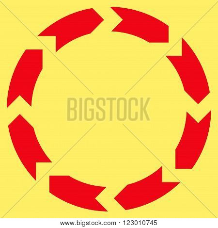 Circulation vector icon symbol. Image style is flat circulation pictogram symbol drawn with red color on a yellow background.