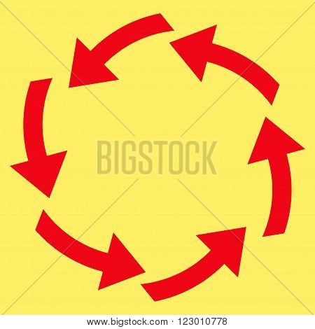 Circulation vector icon. Image style is flat circulation iconic symbol drawn with red color on a yellow background.
