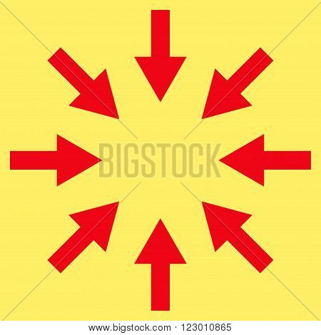 Compact Arrows vector pictogram. Image style is flat compact arrows iconic symbol drawn with red color on a yellow background.