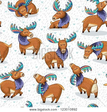 Seamless background with cute hand drawn mooses in cartoon style. Elks with rainbow antlers. Vector illustration pattern