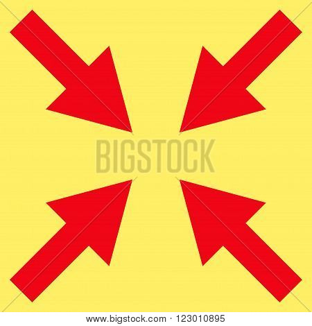 Compress Arrows vector icon symbol. Image style is flat compress arrows icon symbol drawn with red color on a yellow background.