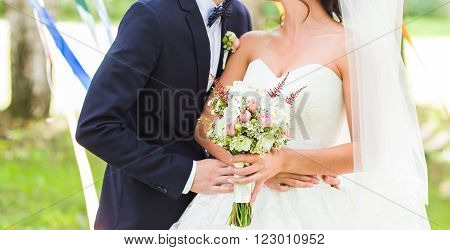 nice wedding bouquet in bride's hand. Bridal bouquet