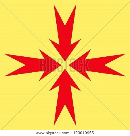 Compression Arrows vector icon symbol. Image style is flat compression arrows icon symbol drawn with red color on a yellow background.