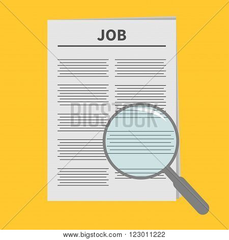 Job Newspaper icon Optic glass instrument Magnifier Search Flat design Isolated White background Vector illustration