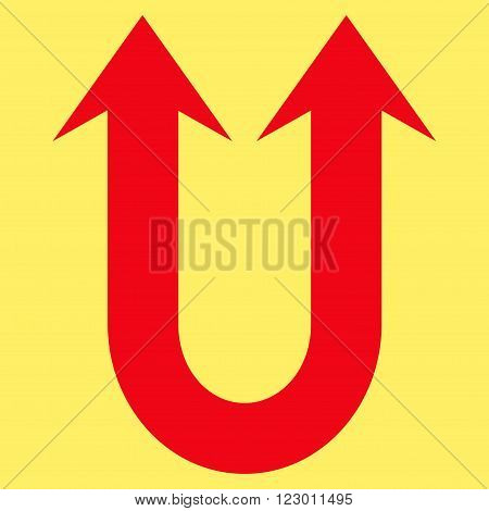 Double Forward Arrow vector icon symbol. Image style is flat double forward arrow pictogram symbol drawn with red color on a yellow background.