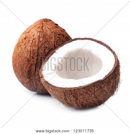 Coconuts on a white background close up .