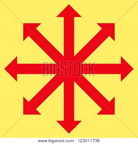 Expand Arrows vector pictogram. Image style is flat expand arrows icon symbol drawn with red color on a yellow background.