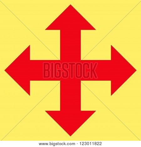 Expand Arrows vector icon symbol. Image style is flat expand arrows pictogram symbol drawn with red color on a yellow background.