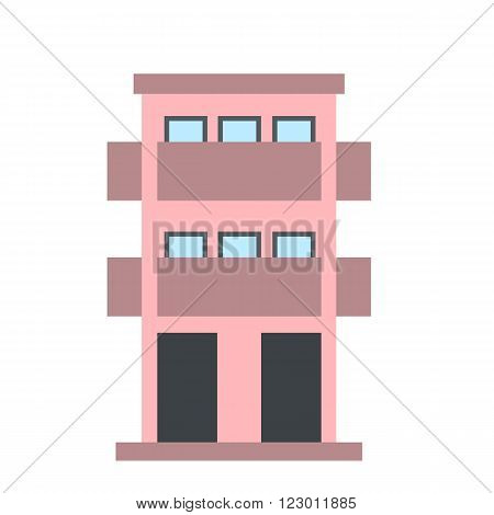 Two-storey house with balcony icon in flat style isolated on white background