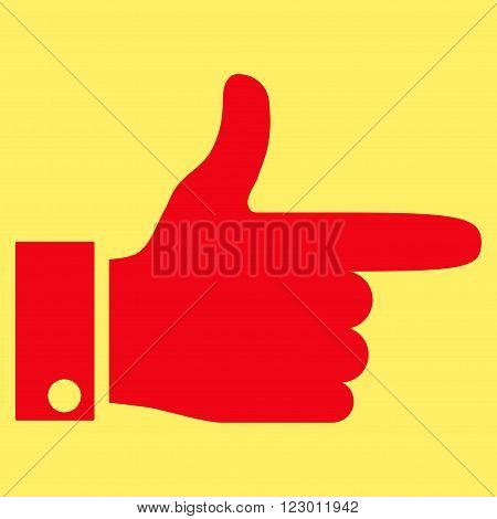 Hand Pointer Right vector symbol. Image style is flat hand pointer right iconic symbol drawn with red color on a yellow background.