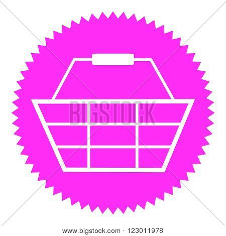Isolated Pink round Button shows Basket symbol