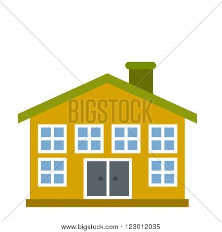 Yellow two-storey house icon in flat style isolated on white background