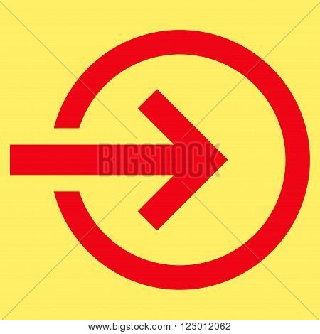 Import vector icon symbol. Image style is flat import icon symbol drawn with red color on a yellow background.