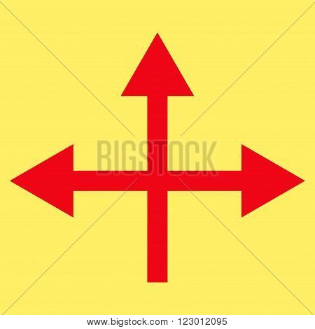 Intersection Directions vector icon. Image style is flat intersection directions iconic symbol drawn with red color on a yellow background.