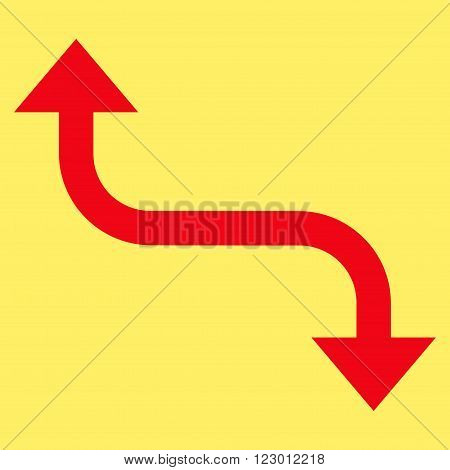 Opposite Bend Arrow vector symbol. Image style is flat opposite bend arrow iconic symbol drawn with red color on a yellow background.