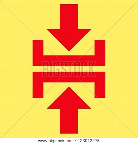 Press Vertical Direction vector icon. Image style is flat press vertical direction icon symbol drawn with red color on a yellow background.