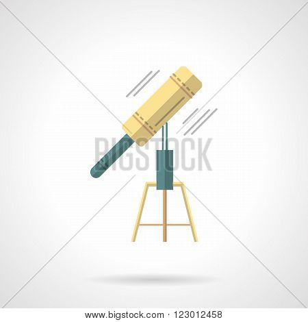 Education and science. Astronomy tool. Telescope. Space research. Vector icon flat color style. Web design element for site, mobile and business.