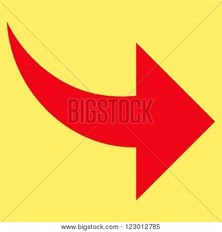 Redo vector symbol. Image style is flat redo icon symbol drawn with red color on a yellow background.
