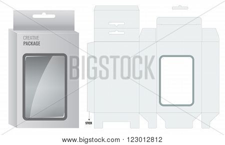 Ready Box design with Shelf Hanging Holes and Die cut Layout. Blueprint design. Illustrated vector
