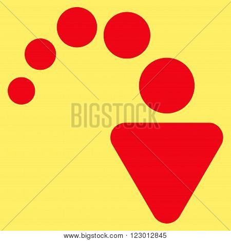 Redo vector icon. Image style is flat redo icon symbol drawn with red color on a yellow background.
