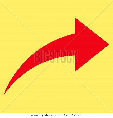 Redo vector icon. Image style is flat redo pictogram symbol drawn with red color on a yellow background.