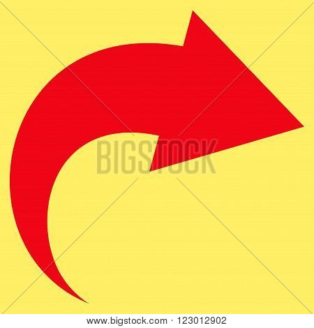 Redo vector symbol. Image style is flat redo pictogram symbol drawn with red color on a yellow background.
