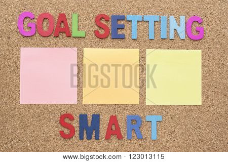 Words goal setting and smart with blank notepad smart goal and success concept for personal and business
