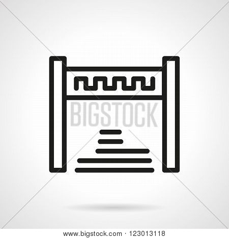 Abstract symbol of finishing. Finish tape. Sport success. Vector icon simple black line style. Single design element for website, business.