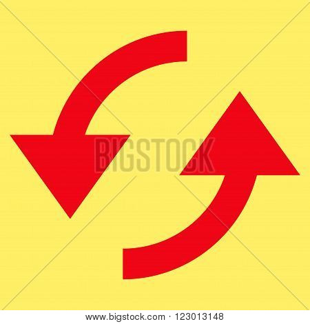 Refresh vector pictogram. Image style is flat refresh iconic symbol drawn with red color on a yellow background.