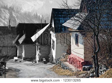 From sketch to the Vlkolinec village, Slovak republic, Unesco. Art technique. Cultural heritage.