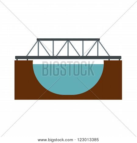 Rail bridge across the river icon in flat style isolated on white background