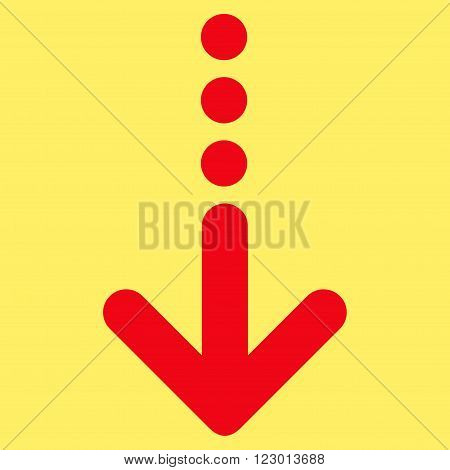 Send Down vector pictogram. Image style is flat send down icon symbol drawn with red color on a yellow background.