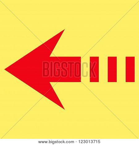 Send Left vector icon symbol. Image style is flat send left pictogram symbol drawn with red color on a yellow background.