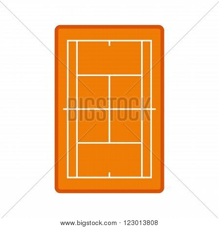Tennis court icon in flat style isolated on white background
