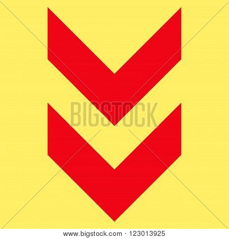 Shift Down vector icon symbol. Image style is flat shift down iconic symbol drawn with red color on a yellow background.
